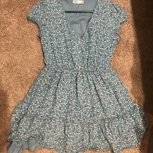 ally fashion blue dress w/ flowers